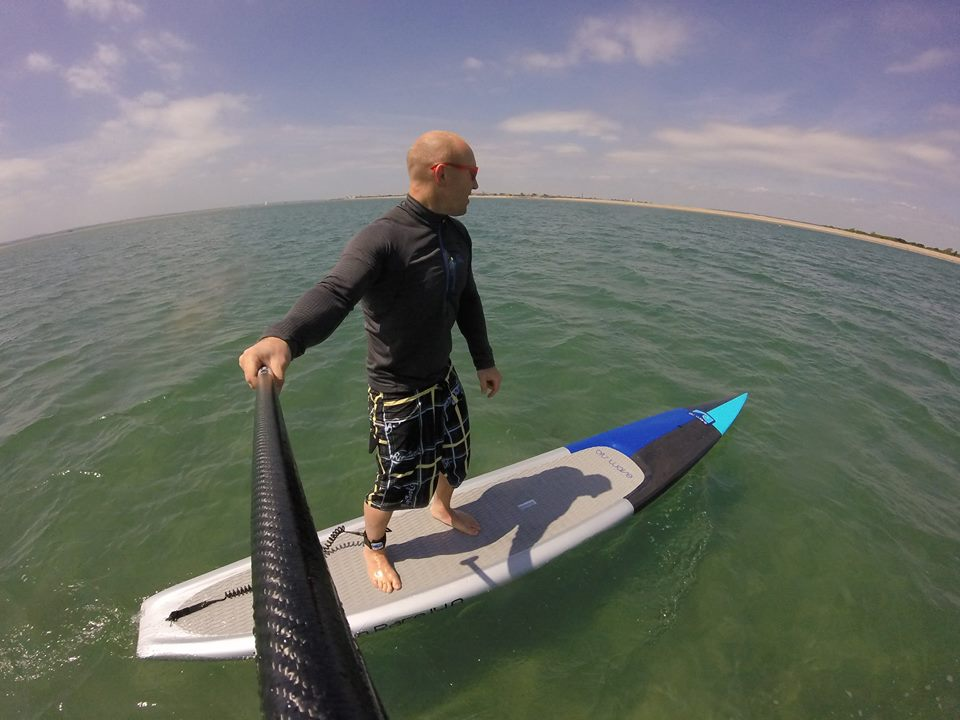 Tez testing the 14' Carbon Race Board